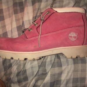 Pink Timberland boot